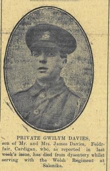 Private Gwilym Davies rez